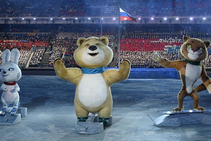 The Sochi Winter Olympic Games' official mascots, the Leopard, the Polar Bear, and the Hare, perform during the opening ceremony of the Sochi Winter Olympics at the Fisht Olympic Stadium on Feb 7, 2014 in Sochi. -- FILE PHOTO: AFP
