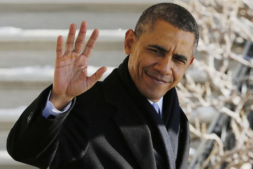 US President Barack Obama waves before departing the White House in Washington, on Feb 14, 2014. -- FILE PHOTO: REUTERS