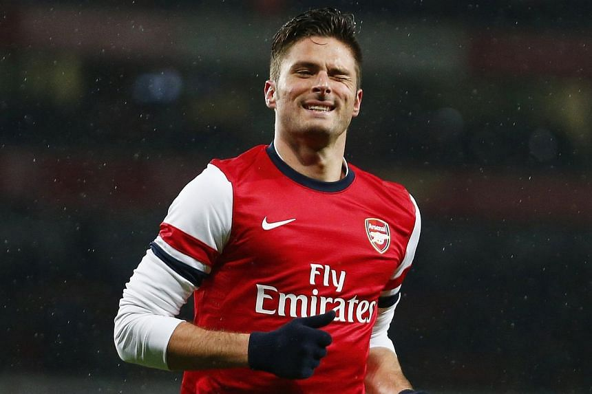 Arsenal's French striker Olivier Giroud issued an apology on Sunday, Feb 16, 2014, after a British tabloid newspaper alleged that he had an extra-marital affair. -- FILE PHOTO: REUTERS