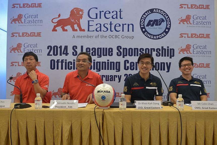 Great Eastern 2014 S League Sponsorship official signing ceremony on Feb 17, 2014. (From left) Mr Lim Chin, CEO ofS.League, Mr Zainudin Nordin, President of FAS, Dr Khoo Kah Siang, CEO of Great Eastern and Mr Colin Chan, CMO of Great Eastern.&n