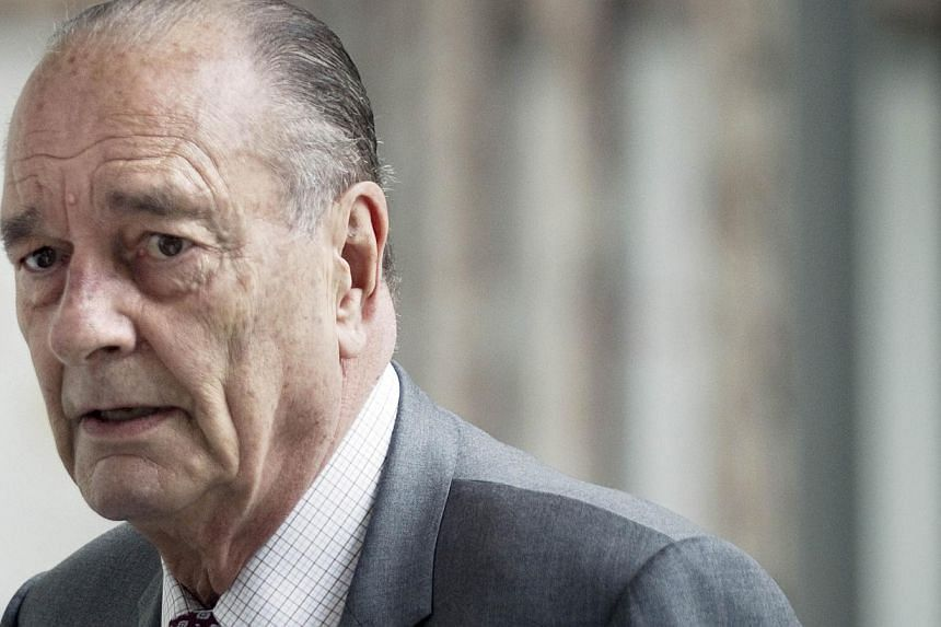 France's former President Jacques Chirac, who has been in poor health for several years, was hospitalised on Monday, Feb 17, 2014, near Paris for a suspected flare of gout, sources close to the former French president said.-- FILE PHOTO: AFP