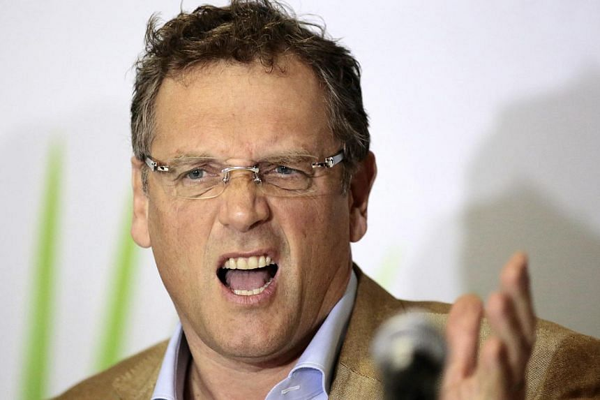 FIFA's Secretary General Jerome Valcke reacts during a news conference after a visit to the Mane Garrincha National Stadium in Brasilia, on Feb 17, 2014. Faced with the specter of street protests disrupting this year's World Cup, soccer's governing b