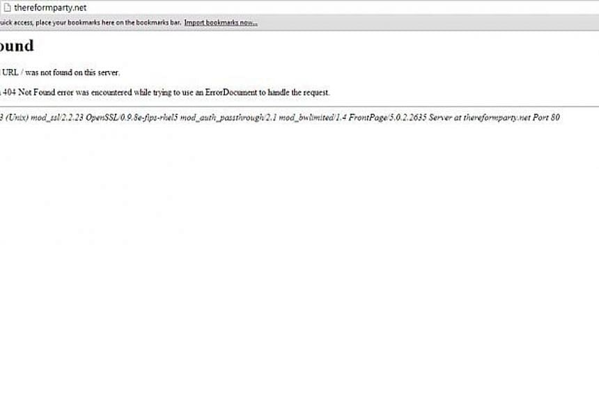 A screen capture from the Reform Party's website as of 11.30pm on Wednesday shows an error message. -- PHOTO: SCREEN CAPTURE FROM INTERNET