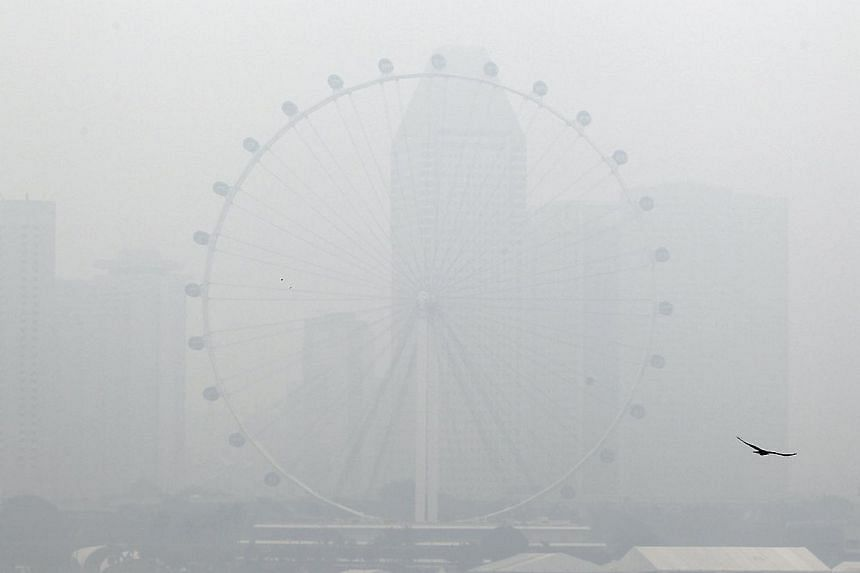 A barely visible Singapore Flyer in the thick haze on June 17, 2013.The Environment and Water Resources Ministry is proposing a new law that would hold liable companies or other entities that cause transboundary haze, and is seeking public feed