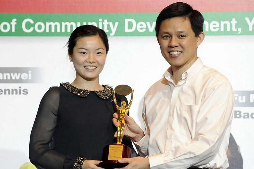 2011: Fu Mingtian, badmintonWhy she won:- Clinched Singapore's first-ever women's singles gold in badminton at the SEA Games in Jakarta.- Won the Vietnam Grand Prix Open as an unseeded shuttler.-- ST FILE PHOTO:ASHLEIGH SIM