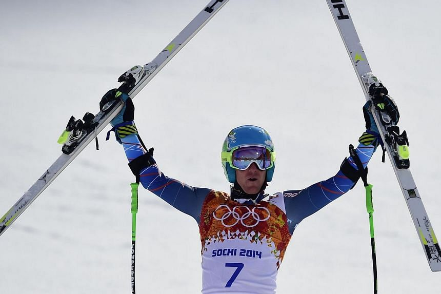 United States skier Ted Ligety reacts after taking gold in the Men's Alpine Skiing Giant Slalom Run 2 on Wednesday, Feb 19, 2014. -- PHOTO: AFP