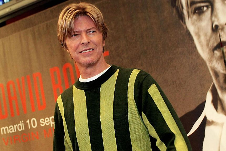 British singer David Bowie in 2002. The music legend on Wednesday, Feb 19, 2014, urged Scotland to remain part of Britain in an acceptance acceptance note read out by supermodel Kate Moss at the annual Brit Awards ceremony. -- FILE PHOTO: AFP