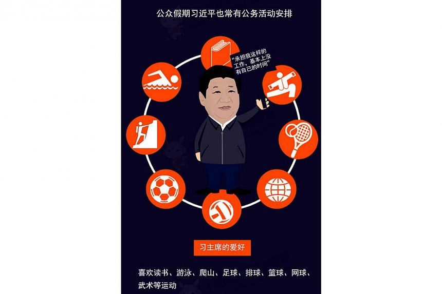 The cartoon-style infographic, carried by qianlong.com, a news portal administered by the publicity department of the Beijing Municipal Committee of the Communist Party of China (CPC), lists China President Xi Jinping's hobbies such as reading, socce