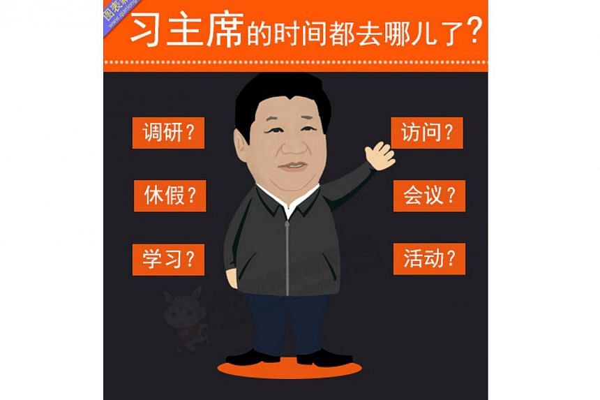 The cartoon-style infographic, carried by qianlong.com, a news portal administered by the publicity department of the Beijing Municipal Committee of the Communist Party of China (CPC), shows China President Xi Jinping's busy schedule which includes m