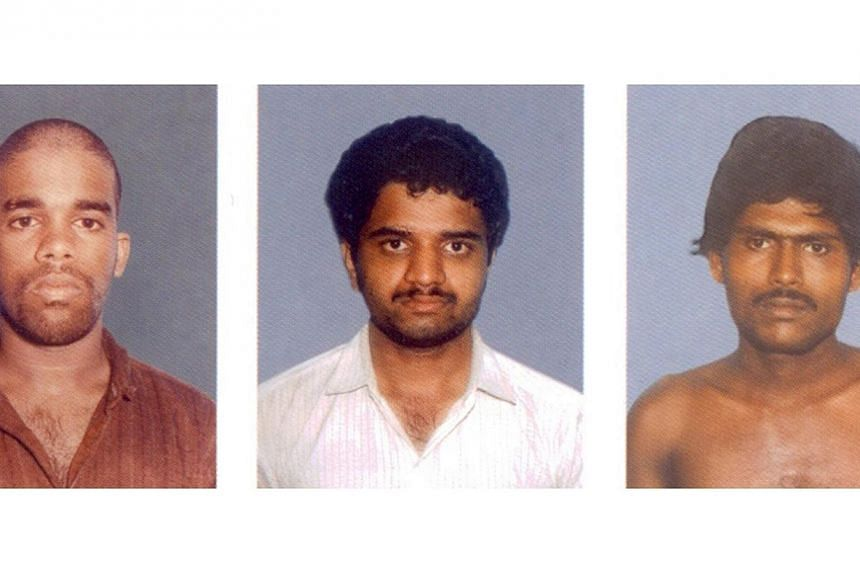 This undated photograph received on Feb 19, 2014 shows mugshot portraits of convicts (left to right) Murugan, Perarivalan, and Santhan, whose death sentences for killing former Indian prime pinister Rajiv Gandhi in 1991 were commuted to life on Feb 1