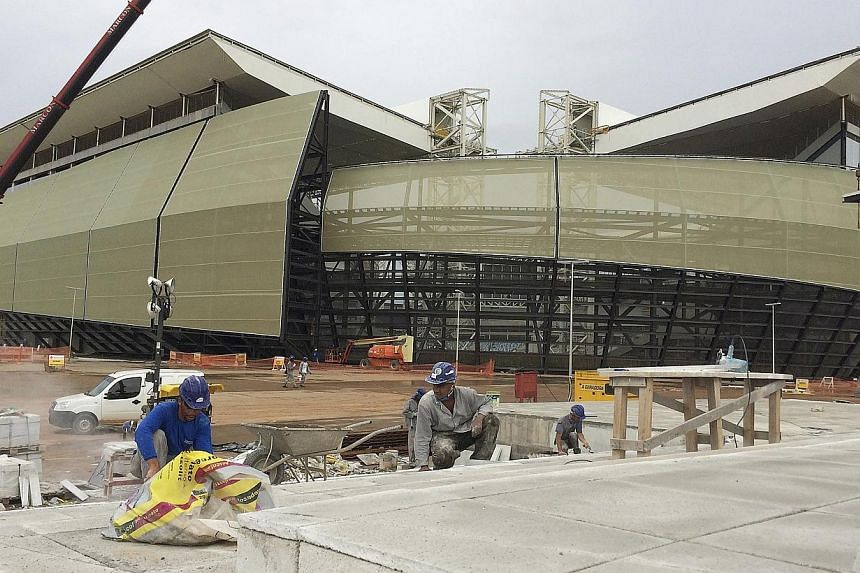A view of the construction of the Arena Pantanal soccer stadium, which will host several matches of the 2014 World Cup, in Cuiaba on Feb 13, 2014. -- FILE PHOTO: REUTERS