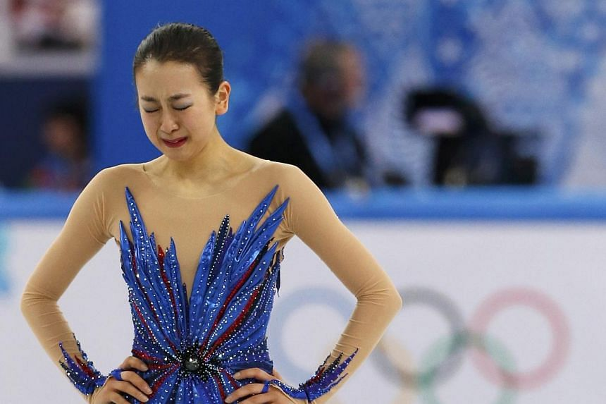 Japan's Mao Asada reacts at the end of her program during the Figure Skating Women's free skating Program at the Sochi 2014 Winter Olympics, Feb 20, 2014. A backlash erupted on Friday, Feb 21, 2014, over sneering by the boss of the Tokyo 2020 Olympic
