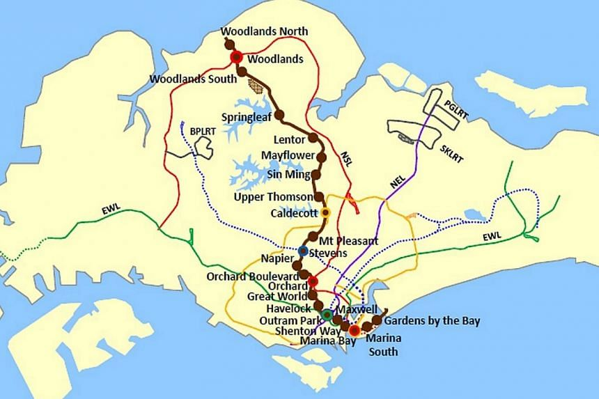 Map of the new MRT stations along the Thomson Line (TSL) and Depoh Mandai. The Land Transport Authority (LTA) has awarded three civil contracts worth $1.09 billion to construct the Sin Ming, Havelock and Marina Bay MRT stations on the Thomson Line.&n