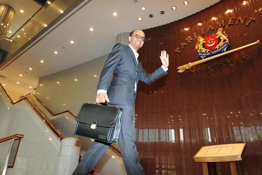 Deputy Prime Minister and Finance Minister Tharman Shanmugaratnam arriving at Parliament House on Feb 17, 2012. -- ST PHOTO: SAMUEL HE