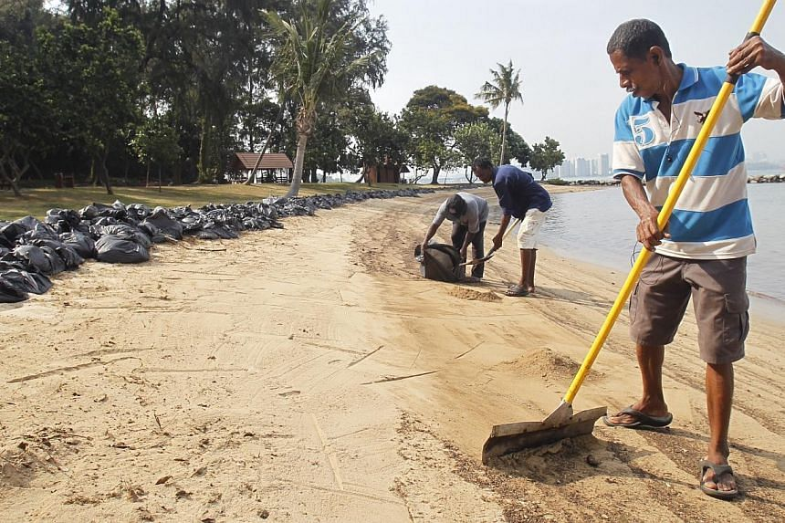 Workers cleaning up the beach at St John's Island on Feb 4 after an oil spill from the Jan 30 collision of two tankers.