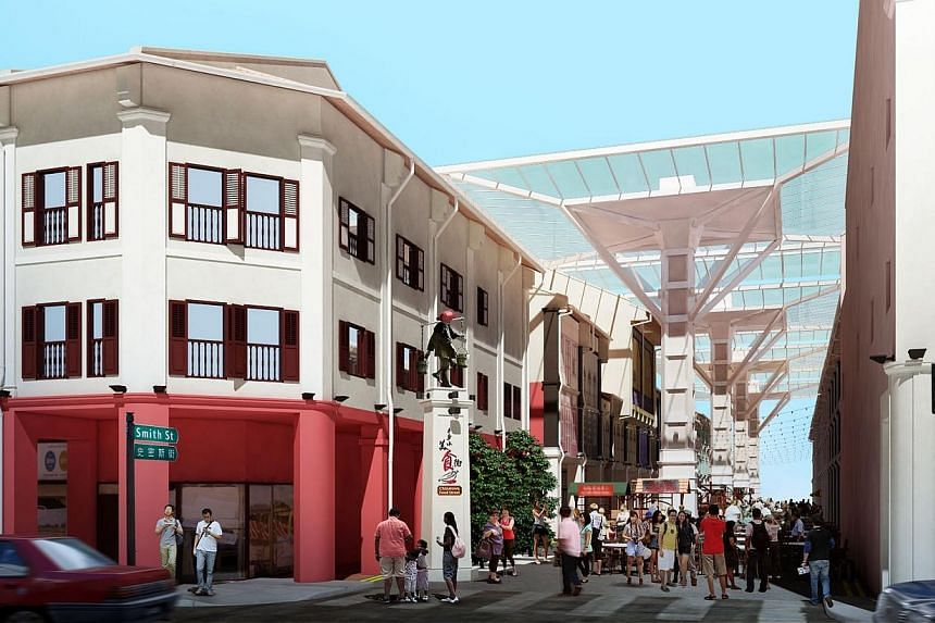 Artist's impression of the revamped Chinatown Food Street located on Smith Street. -- PHOTO: SELECT GROUP