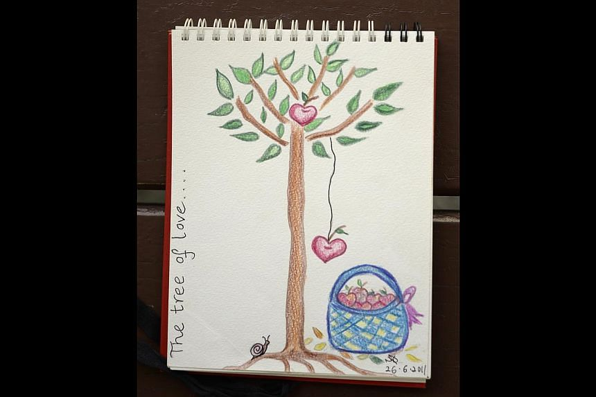 A sketch (above) by Ms Yohanna, who conducts art therapy sessions for patients at Club Heal.