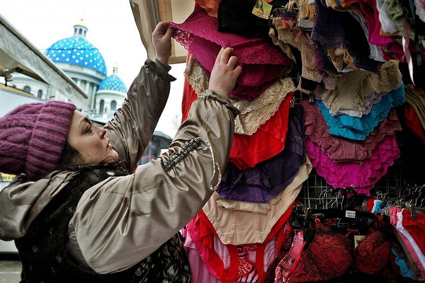Coming under a complete ban this summer in Russia, Kazakhstan and Belarus are lace or net knickers that have a high synthetic content, due to a new hygiene rule. -- PHOTO: AFP