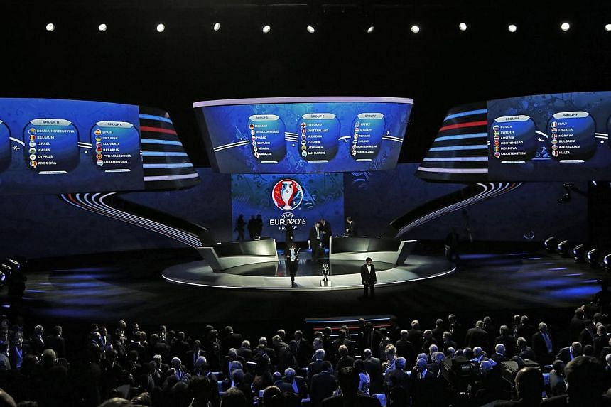Teams drawn for the groups A, B, C,D, E, F, G, H and I are seen on a display during the UEFA Euro 2016 qualifying draw in Nice, February 23, 2014. -- PHOTO: REUTERS