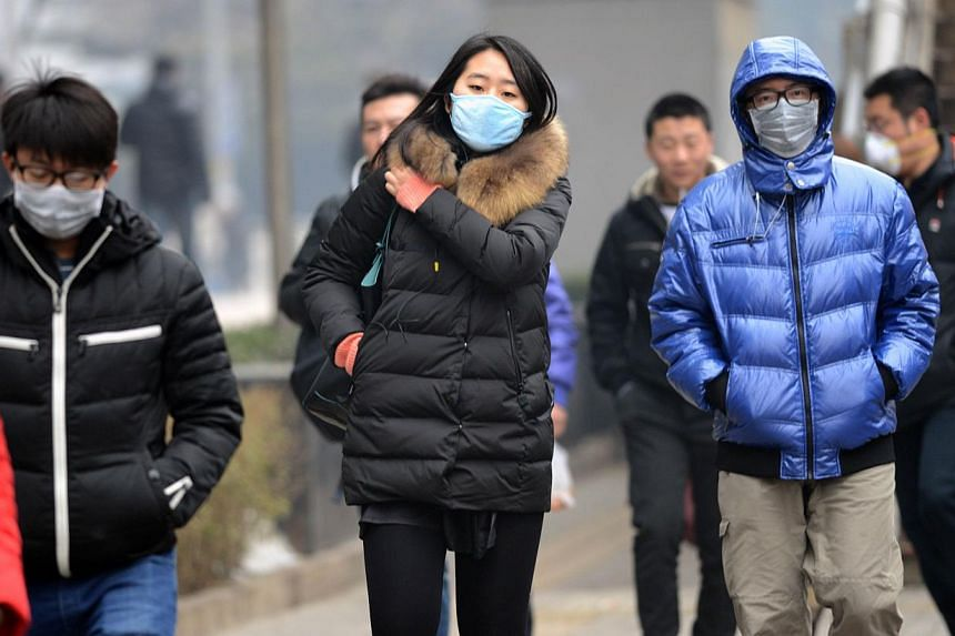Pedestrians wear masks as they make their way along a street in Beijing on Feb 21, 2014. -- FILE PHOTO: AFP