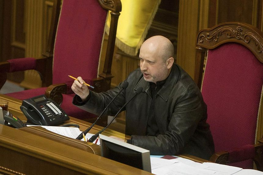 Parliament in Ukraine voted on Sunday to temporarily hand over the duties of president to the speaker of the assembly, Oleksander Turchinov. -- PHOTO: REUTERS