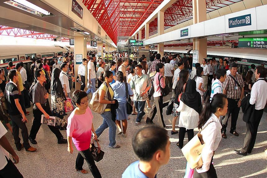 The Jurong East interchange station on May 27, 2011. Train services from Jurong East towards Kranji station were restored at about 9am on Monday morning, operator SMRT said on its official Twitter account. -- ST FILE PHOTO: JONATHAN CHOO