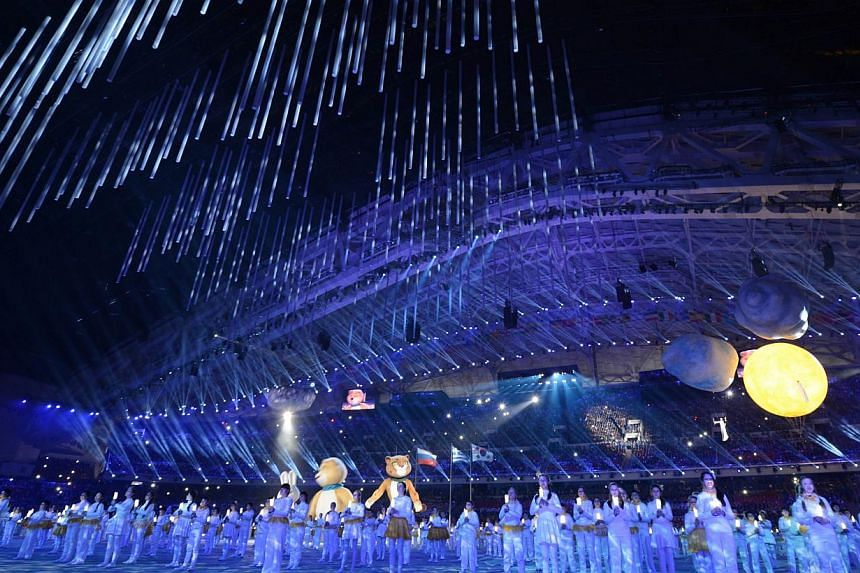 Performers take part in the Closing Ceremony of the Sochi Winter Olympics at the Fisht Olympic Stadium on Feb 23, 2014. -- PHOTO: AFP