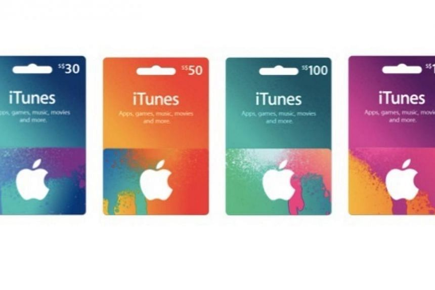 Apple's iTunes Gift Cards that can be bought from selected Apple resellers to make purchases on the Singapore iTunes Store and App Store from Monday, Feb 24, 2014. -- PHOTO: APPLE