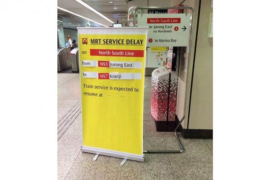 Track fault on the North-South Line on Monday morning. -- ST PHOTO: ADRIAN CHEONG