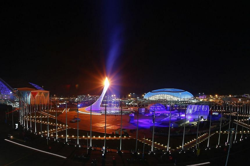 A general view of the Olympic Park is pictured during the closing ceremony for the 2014 Sochi Winter Olympics, on Feb 23, 2014. -- PHOTO: REUTERS