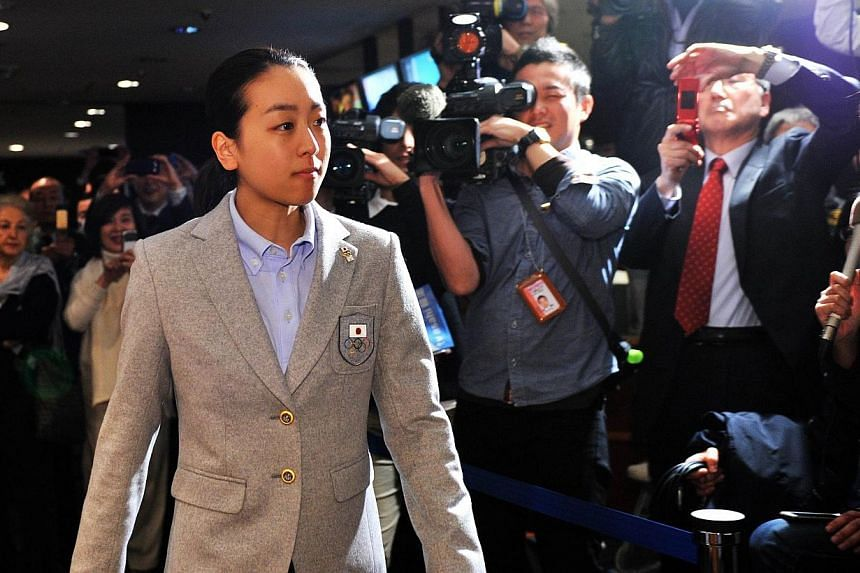 Japanese figure-skating star Mao Asada on Tuesday, Feb 25, 2014, hit back at sneering by the boss of the Tokyo 2020 Olympic committee over her disastrous performance on the ice in Sochi.-- PHOTO: AFP