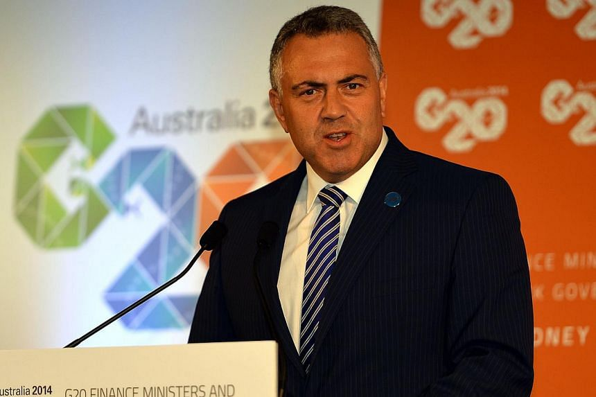Australia Treasurer Joe Hockey speaks during a press conference at the G20 Finance Ministers and Central Bank Governors meeting in Sydney on Feb 23, 2014.  -- FILE PHOTO: AFP