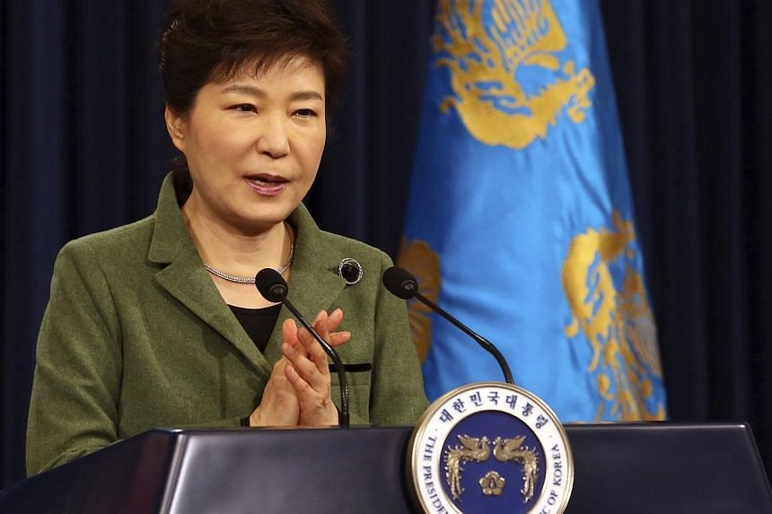 South Korea's President Park Geun-hye delivers a televised speech on economic reform plan at the Presidential Blue House in Seoul, Feb 25, 2014.Park announced on Tuesday, Feb 25, 2014, the creation of a committee under her direct control to wor