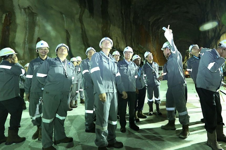 President Tony Tan Keng Yam and the Council of Presidential Advisers visit the Jurong Rock Caverns. -- PHOTO: JTC CORPORATION