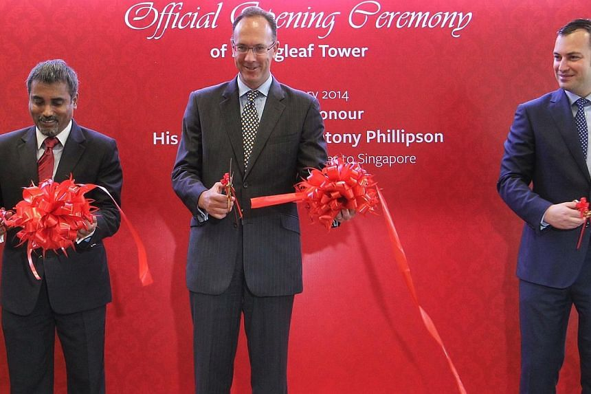 From left: LSBF in Singapore's Managing Director Rathakrishnan Govind, British High Commisioner to Singapore H.E. Antony Phillipson, and LSBF Executive Chairman and Founder Arkady Etingen official opens LSBF's new Singapore campus during a ribbon cut