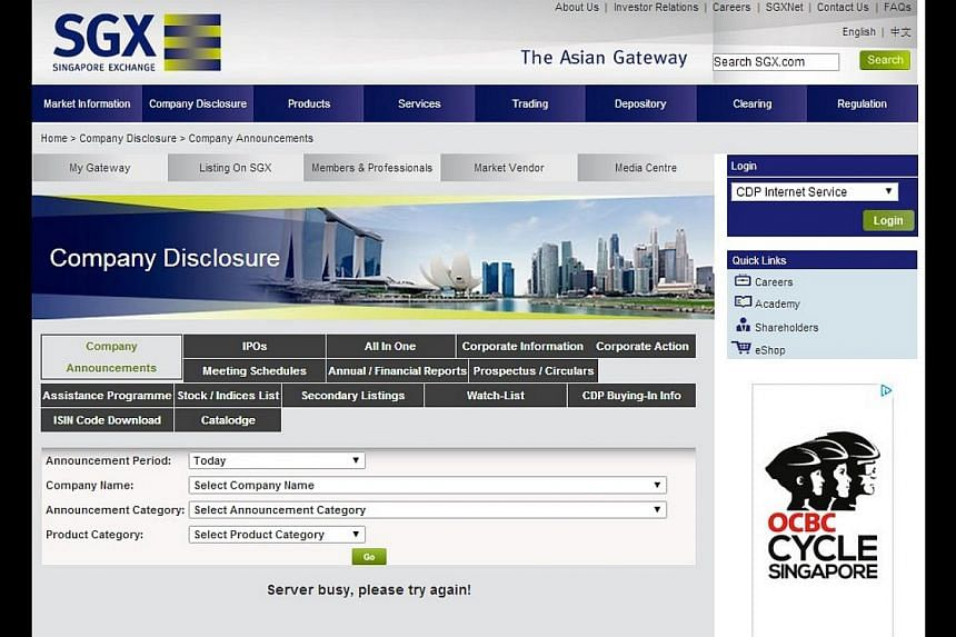 A screen capture taken at 5.15pm on Wednesday, Feb 26, shows the Singapore Exchange website. -- PHOTO: SCREEN CAPTURE FROM WEBSITE