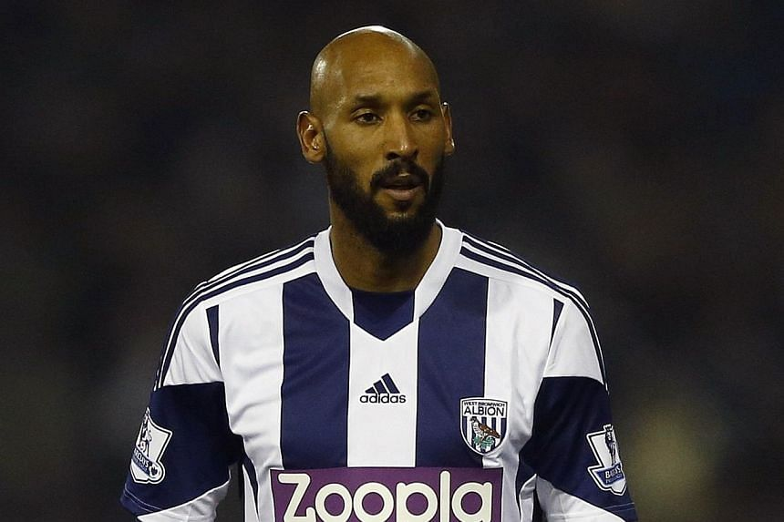 """West Bromwich Albion's Nicolas Anelka looks on during their English Premier League soccer match against Everton at The Hawthorns in West Bromwich, central England Jan 20, 2014. Nicolas Anelka's disciplinary hearing over his controversial """"quenelle"""" g"""