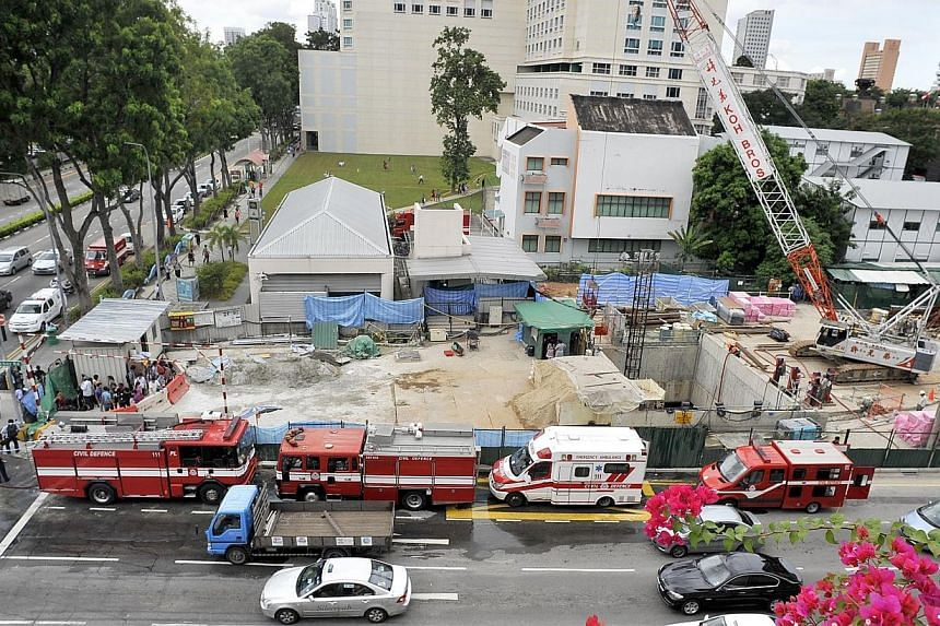 An aerial view of the Bugis Downtown Line work site in which its underground scaffolding collapsed on July 18, 2012.The main contractor in charge of building Bugis Downtown Line station was fined $70,000 in court on Wednesday, Feb 26, 2014, for