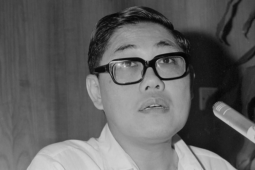 Mr Chua Sian Chin, Former Minister for Health and Home Affairs, speaking at the inaugural meeting of the committee at the Police Headquarters in Pearls Hill on Aug 2, 1974. -- ST FILE PHOTO: MAHFUTZ MATTAR