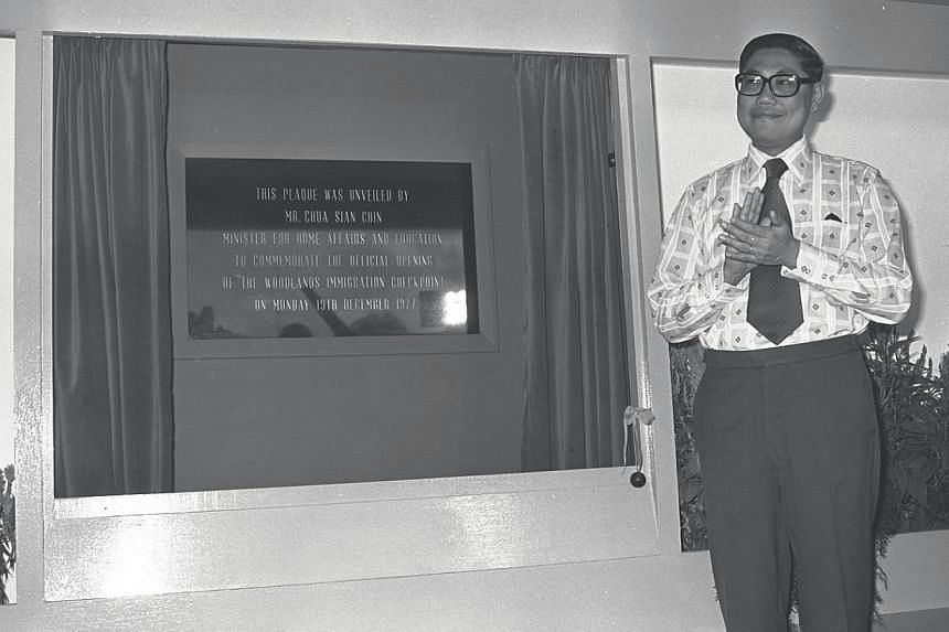 Former Minister for Home Affairs and Education, Mr Chua Sian Chin opening the Woodlands immigration checkpoint on Dec 19, 1977. -- ST FILE PHOTO: TAN SUAN ANN