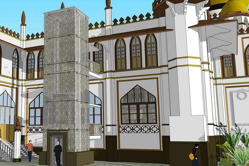 An external glass lift will improve accessibility for  elderly and disabled worshippers while maintaining an unobstructed view of the mosque from the street. About 5,000 worshippers throng the mosque for Friday prayers.