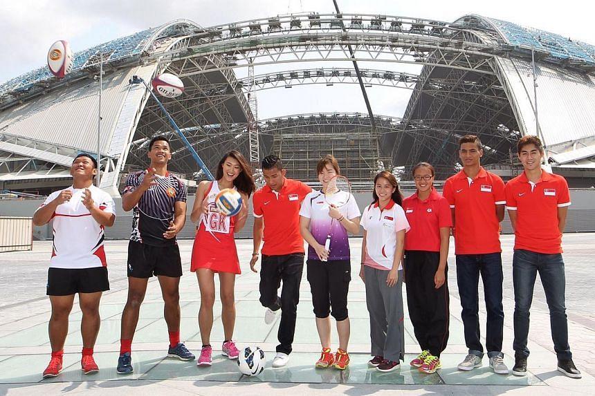 Singapore national athletes (from left) rugby players Gaspar Tan, Muhammad Zaki, netball player Cheryl Ann Lee, footballer Isa Halim, shutter Fu Mingtian, diver Myra Lee, synchronised swimmer Stephanie Chan, and footballers Safuwan Baharudin and Gabr