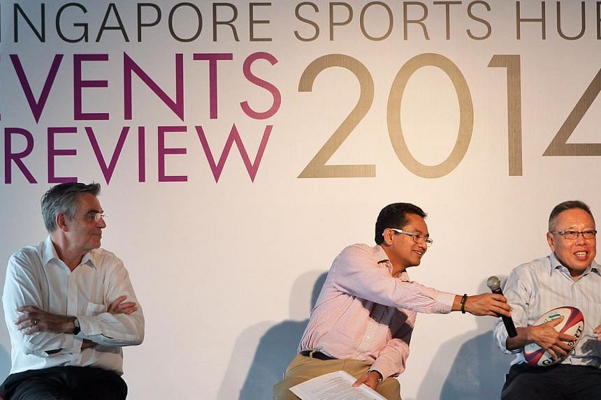 From left: SportsHub Pte Ltd CEO Philippe Collin Delavaud, Football Association of Singapore President Zainudin Nordin and Singapore Rugby Union President Low Teo Ping at the press conference of the SportsHub Events Preview.-- ST PHOTO: NEO XIA