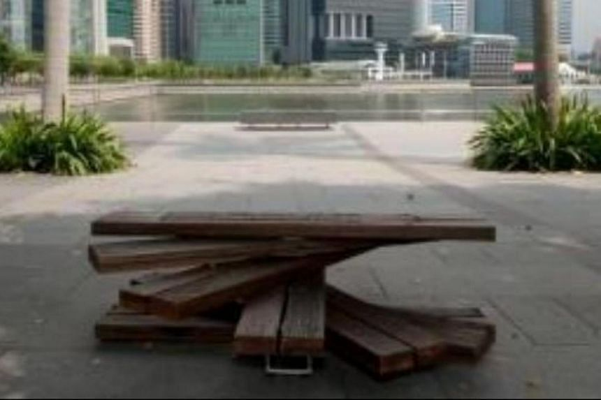 The Kallang Raw by Chang Yong Ter from Chang Architects. The Urban Redevelopment Authority has launched a contest to get the public to vote for their favourite bench designs and where they would like to see them installed. -- PHOTO:URBAN REDEVE