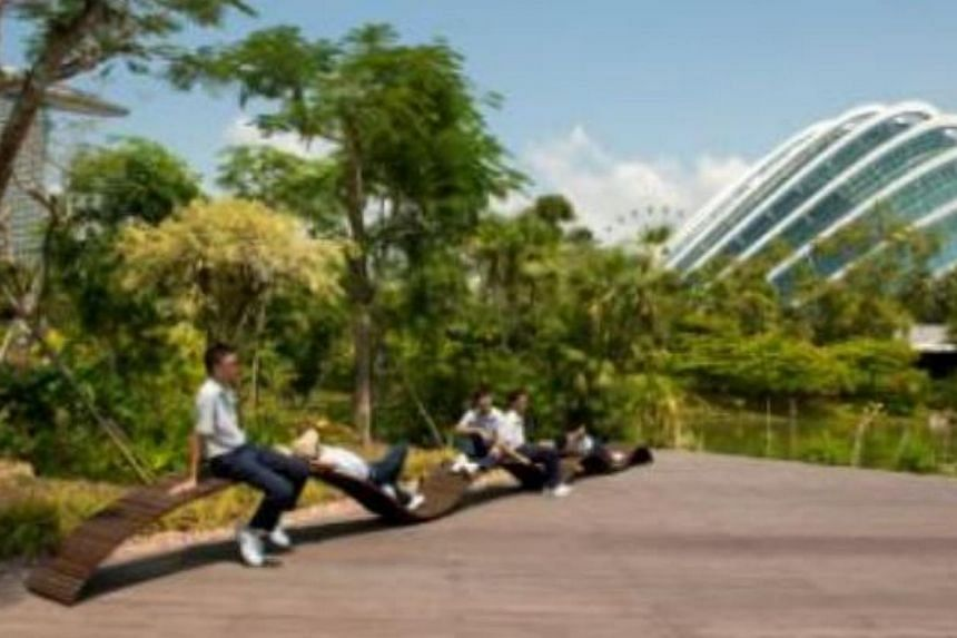 The Kallang Wave by Ministry of Design.  The Urban Redevelopment Authority has launched a contest to get the public to vote for their favourite bench designs and where they would like to see them installed. -- PHOTO:URBAN REDEVELOPMENT AUTHORIT