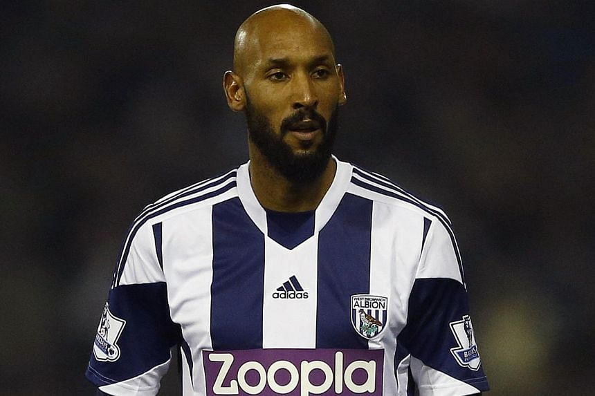 West Bromwich Albion's Nicolas Anelka looks on during their English Premier League soccer match against Everton at The Hawthorns in West Bromwich, central England, on Jan 20, 2014.Anelka was banned for five matches on Thursday for his controver