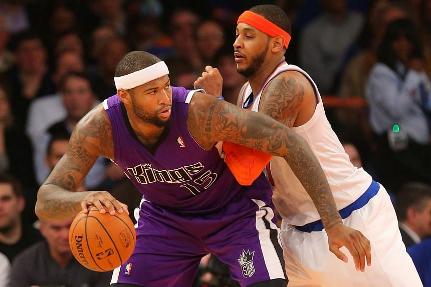 On Feb 12, 2014; New York, NY, USA; Sacramento Kings center DeMarcus Cousins (15) works against New York Knicks small forward Carmelo Anthony (7) during the second half at Madison Square Garden. -- FILE PHOTO: REUTERS