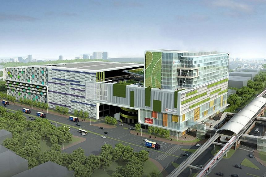 An artist's impression of the Joo Koon integrated transport hub, which will host FairPrice's biggest and most high-tech distribution centre. -- PHOTO: NTUC FAIRPRICE