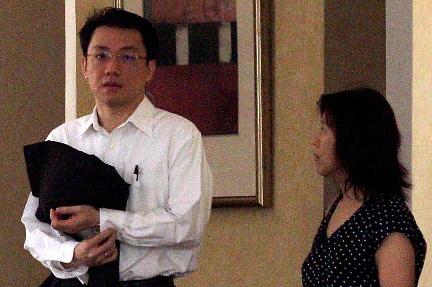 Law professor Tey Tsun Hang and Ms Chen Sei Lee at the lobby of Regent Grove, a condominium at Choa Chu Kang on July 24, 2012. -- TNP FILE PHOTO: KELVIN CHNG