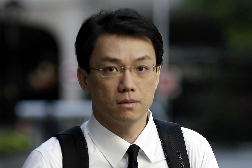 Former law professor Tey Tsun Hang arriving at the court for his corruption trial on April 12, 2013. -- ST FILE PHOTO: WONG KWAI CHOW